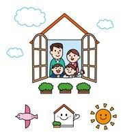 窓から顔をだす家族・アイコン 10423000693| 写真素材・ストックフォト・画像・イラスト素材|アマナイメージズ