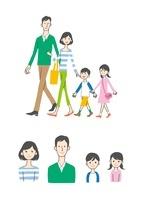 歩く家族、バストアップ