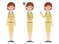 女性会社員 表情3パターン