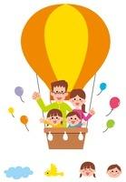 黄色の気球に乗った家族・アイコン