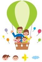 黄緑色の気球に乗った家族・アイコン