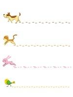 フレーム(足跡)/犬、猫、ウサギ、小鳥