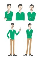 男性表情3パターン、指さし
