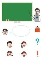 教師と黒板、学校アイコン、子供の顔アイコン
