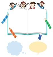 子供と本のフレーム、吹き出し