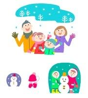 冬の家族と雪だるま 10423000765| 写真素材・ストックフォト・画像・イラスト素材|アマナイメージズ