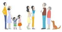 ポスターや看板を見ている人々、家族、主婦、老夫婦