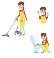 掃除している女性