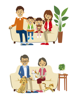 家族(親子ソファ、シニア夫婦ソファ) 10423000818| 写真素材・ストックフォト・画像・イラスト素材|アマナイメージズ