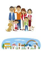三世帯家族、住宅街背景