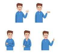 男性表情5パターン
