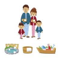 家族温泉旅行、温泉関連(浴場、風呂桶、郷土料理)