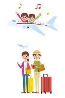 女性の二人旅(飛行機)