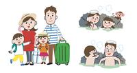 家族で温泉旅行、露天風呂に入っている家族
