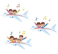 飛行機旅行アイコン3パターン