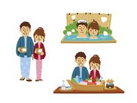 温泉旅行の若い夫婦(浴衣、温泉に入る、郷土料理) 10423000866| 写真素材・ストックフォト・画像・イラスト素材|アマナイメージズ