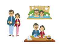 温泉旅行のシニア夫婦(浴衣、温泉に入る、郷土料理)