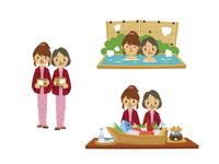 温泉旅行の母娘(浴衣、温泉に入る、郷土料理)