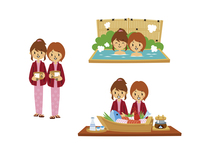 温泉旅行の女性二人旅(浴衣、温泉に入る、郷土料理)