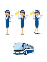 バスガイド(マイク、案内、手差し)と観光バス 10423000876| 写真素材・ストックフォト・画像・イラスト素材|アマナイメージズ