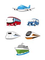 旅行乗物(飛行機、観光バス、自動車、新幹線、急行列車、客船)