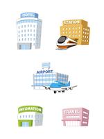 旅行建物(ホテル、駅、空港、インフォメーション、旅行代理店)