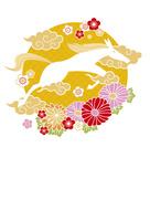 年賀状/午年(馬と雲と花・黄)