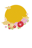 年賀状/雲と花・黄