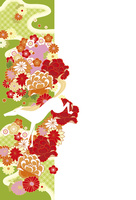 年賀状/午年(馬と花の帯・緑)