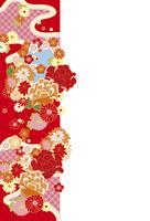 年賀状/花の帯・赤 10423000937| 写真素材・ストックフォト・画像・イラスト素材|アマナイメージズ