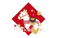 年賀状/午年(馬と梅と七宝柄・赤) 10423000944| 写真素材・ストックフォト・画像・イラスト素材|アマナイメージズ