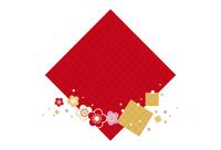 年賀状/梅と七宝柄・赤 10423000946| 写真素材・ストックフォト・画像・イラスト素材|アマナイメージズ