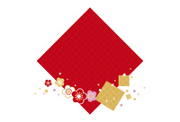 年賀状/梅と七宝柄・赤