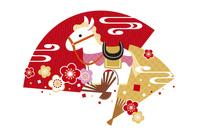 年賀状/午年(馬と梅と扇子・赤)