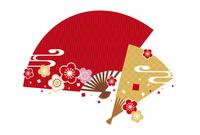 年賀状/梅と扇子・赤 10423000950| 写真素材・ストックフォト・画像・イラスト素材|アマナイメージズ