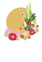 年賀状/門松と花・黄