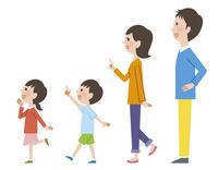 横向きで指をさす家族 10423001013| 写真素材・ストックフォト・画像・イラスト素材|アマナイメージズ