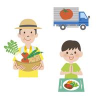 農家とトラックと食事をする子供 10423001022| 写真素材・ストックフォト・画像・イラスト素材|アマナイメージズ