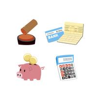 金融(貯金通帳、印鑑、貯金箱、電卓)