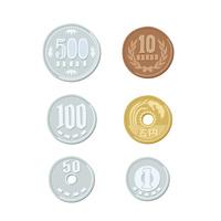 お金 硬貨(500円、100円、50円、10円、5円、1円)