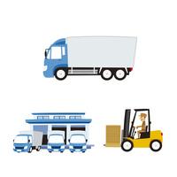 運輸(大型トラック、フォークリフト、配送センター) 10423001040| 写真素材・ストックフォト・画像・イラスト素材|アマナイメージズ