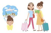 海外旅行に行く女性