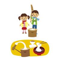 正月と子供(餅つき)