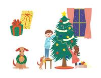 クリスマスツリーを飾る子供、プレゼント、リースをくわえた犬