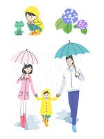 傘を持って歩く親子、カエルと子ども、あじさい
