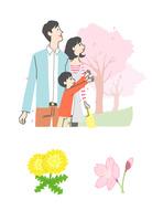 桜を見る親子、タンポポと桜