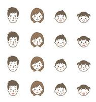 家族の表情アイコン4パターン