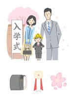 入学式に出る家族、春のアイコン 10423001077| 写真素材・ストックフォト・画像・イラスト素材|アマナイメージズ
