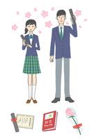 卒業する女子学生と男子学生