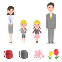 入学式に出る家族、春アイコン